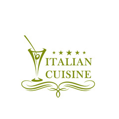 Olive in glass vector icon for Italian cuisine