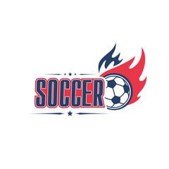 Soccer ball fire vector football team club icon