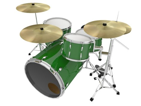isolated green drums perspective view 1