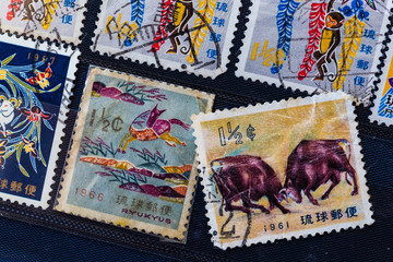Old stamps from Okinawa, Japan.