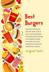 Vector fast food poster for burgers restaurant
