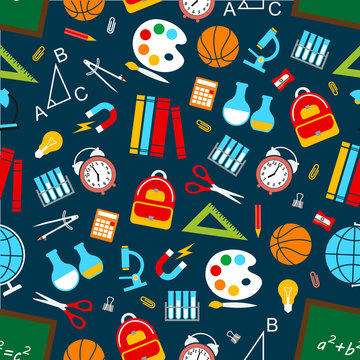 School science vector seamless pattern