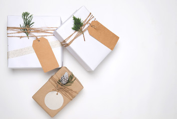 Christmas present gift boxes collection with tag for mock up template design. View from above. Creative Flat layout and top view composition with border and copy space design.