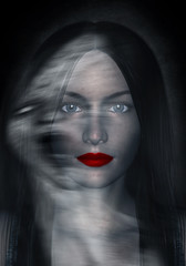 3d illustration of woman in beauty and the dark side