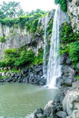 Jeongbang waterfall in Jeju Island