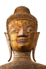 face of Ancient Buddha  on a white background.Isolate