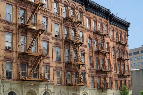 New York Apartment Building Facades With External Fire Escape Ladders