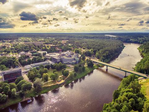 Lithuania, Baltic States: aerial UAV view of Druskininkai, a spa town on the Nemunas river