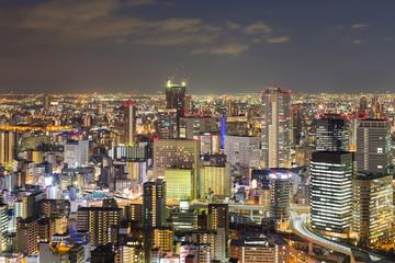 Night city central business downtown, Osaka Japan