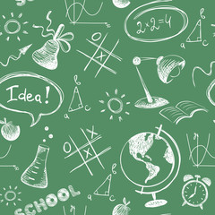 Blackboard / Seamless vector pattern, background with school objects