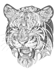 Tattoo, grinning graphics head of a tiger of black and white graphics