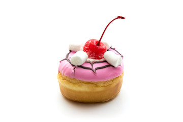 Donut with Cherry isolated on white background.