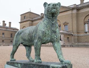LARGE BRONZE LION STATUE SCULPTURE, GREEN