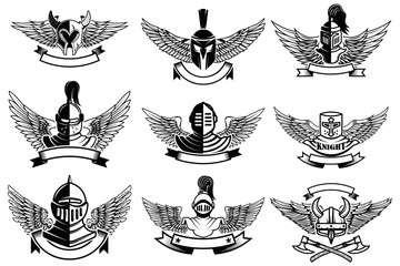 Set of emblems with helmets and wings. Design elements for label, emblem, sign, brand mark. Vector illustration