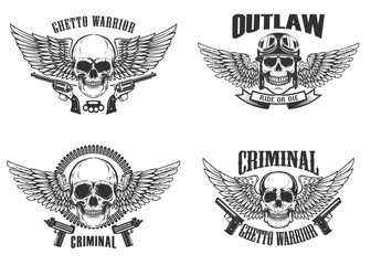 Set of winged skulls with weapon. Design elements for emblem, sign, label, t-shirt. Vector illustration
