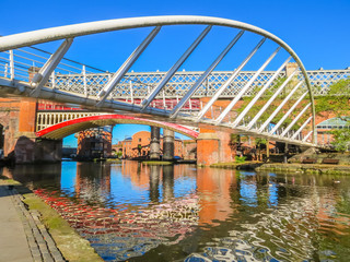 Bridges and channels of the Castlefield, an inner city conservation area, Manchester, England, United Kingdom