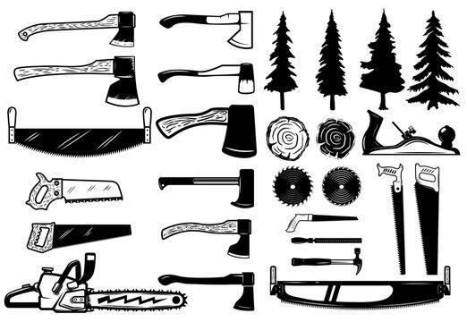 Set of carpenter tools, wood and trees icons. Design elements for logo, label, emblem, sign. Vector illustration