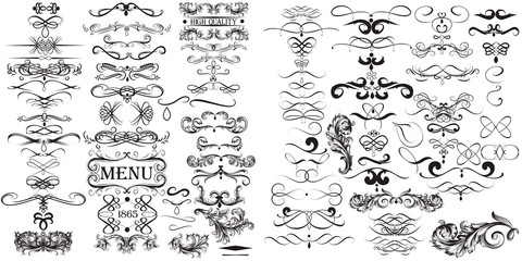 Huge collection of vector calligraphic elements
