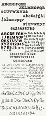 Huge collection or set of English  hand drawn ABC for fonts  in vintage style