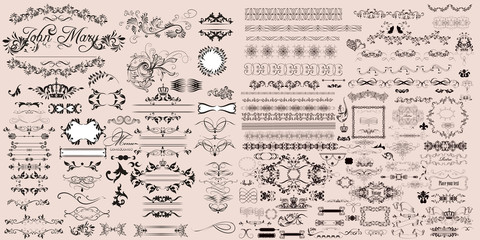 Huge collection of vector calligraphic elements and page decorations in vintage style Fototapete
