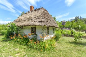 Drewniana, kryta strzechą chata wiejska na polskim Podlasiu w okolicach Janowa Podlaskiego