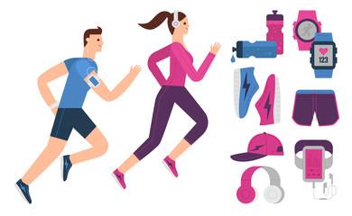Running, Flat Design, Illustration