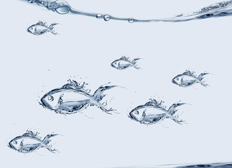 A school of fish made of water swimming.