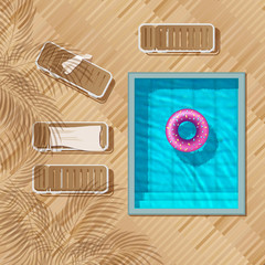 pool top view,  inflatable swim ring in shape of donut in the pool, Sun loungers