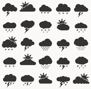 Set of weather  icon black color on white background