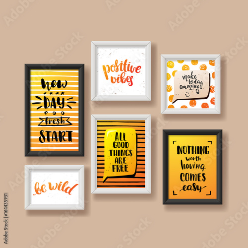 Template Vector Trendy Hand Lettering Poster Frame On The Wall