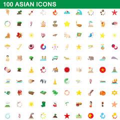 100 asian icons set, cartoon style