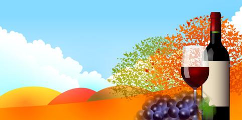 ワイン ぶどう 紅葉 背景