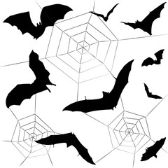 Halloween party pattern. Halloween bat, spider background. Halloween symbols black and white color vector illustration. For Fabric Print, Advertising.