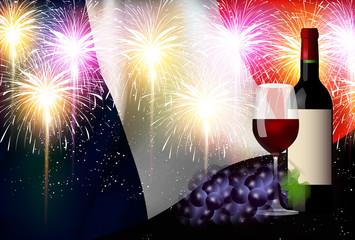 ワイン フランス  国旗 背景