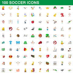 100 soccer icons set, cartoon style