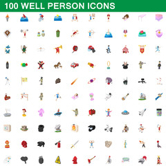 100 well person icons set, cartoon style