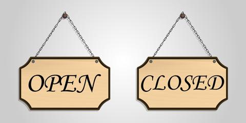 closed open board wood hang vector