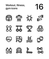 Workout, fitness, gym icons for web and mobile design pack 2
