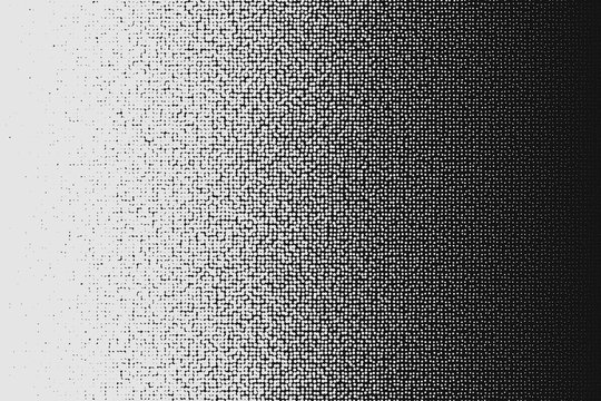 Vector halftone white to black irregular transition pattern made of dots.