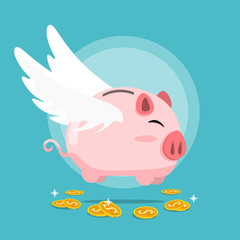 Happy piggy bank gold coins,piggy bank wing float on dollar coin flat vector