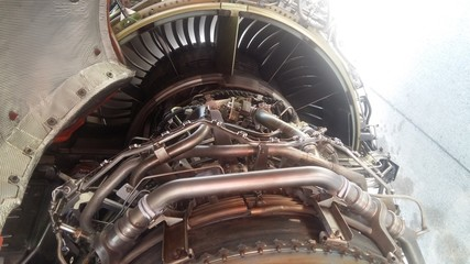 turbofan of an modern airliner aircraft opened for an inspection