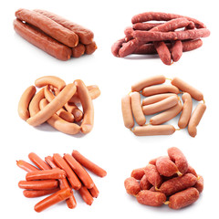 Different kinds of sausages on white background
