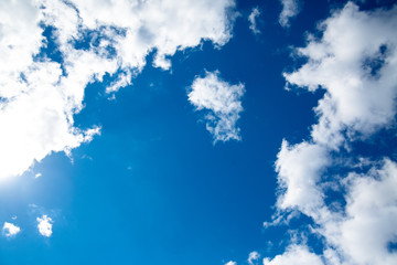 Blue sky with clouds, background.