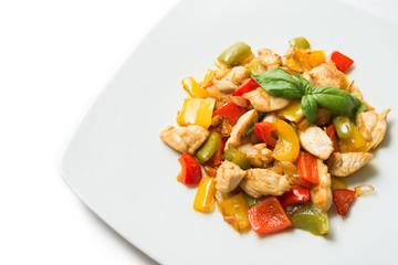 Stufato di pollo e peperoni