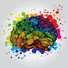 Brain Bright Idea illustration. Doodle vector concept about human brain and Ideas. Creative illustration