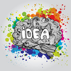 Brain Idea illustration. Doodle vector concept about human brain. Creative illustration