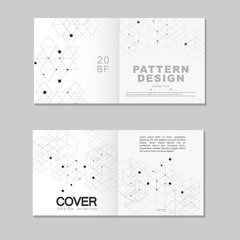 Brochure template design. Abstract connect polygonal network background with dots and lines