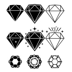 Set of diamond design elements. Vector Illustration