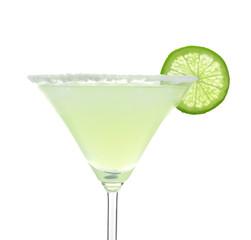 Delicious margarita cocktail on white background