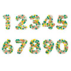 Konfetti, Number, Bunt, Papier, Bunte Konfetti Zahlen von 1 bis 9 und 0